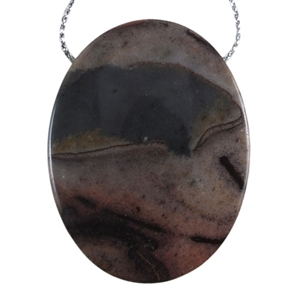 Pyrite in Quartz Gemstone - Oval Pendant 34mm x 45mm