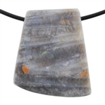 Natural Bamboo Agate Gemstone - Tapered Square Pendant 29mm x 32mm