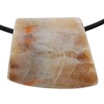 Natural Bamboo Agate Gemstone - Tapered Square Pendant 22mm x 27mm