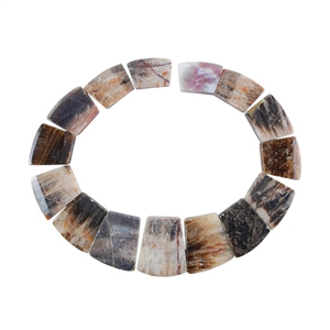 Natural Bamboo Agate Gemstone - Tapered Square Necklace 12-13/32""