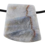 Natural Bamboo Agate Gemstone - Tapered Square Pendant 26mm