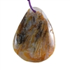 Natural Bamboo Agate Gemstone - Pear Pendant 40mm x 53mm