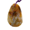 Natural Bamboo Agate Gemstone - Pear Pendant 33mm x 52mm