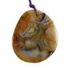Natural Bamboo Agate Gemstone - Freeform Pendant 46mm x 52mm