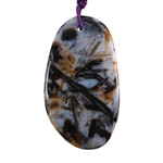 Natural Bamboo Agate Gemstone - Freeform Pendant 30mm x 53mm