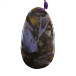 Natural Bamboo Agate Gemstone - Freeform Pendant 32mm x 57mm