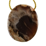 Natural Peanut Wood Gemstone - Pendant Oval 27mm x 32mm - Pak of 1