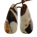 Natural Peanut Wood Gemstone - Pendant Freeform 12mm x 28mm - Matched Pair