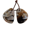 Natural Peanut Wood Gemstone - Pendant Freeform 17mm x 23mm - Matched Pair