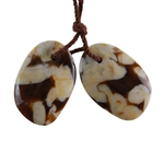 Peanut Wood Gemstone - Pendant Freeform 14mm x 20mm - Matched Pair