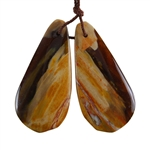 Natural Peanut Wood Gemstone - Pendant Freeform 17mm x 37mm - Matched Pair