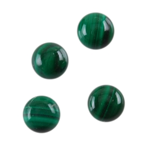 Natural Malachite Gemstone - Cabochon Round 4mm - Pak of 2