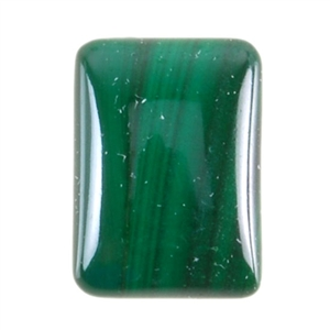 Natural Malachite Gemstone - Cabochon Rectangle 10x14mm - Pak of 1