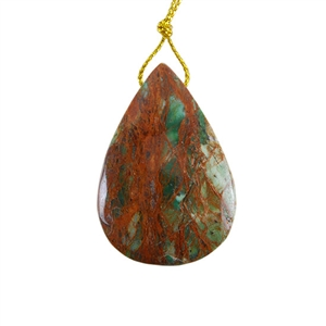 Natural African Green Opal Gemstone - Pendant Pear 30x43mm - Pak of 1