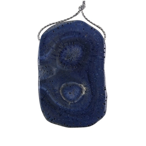 Natural Blue Coral Gemstone - Freeform Pendant 35x56mm