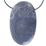 Natural Blue Coral Gemstone - Oval Pendant 32mm x 51mm
