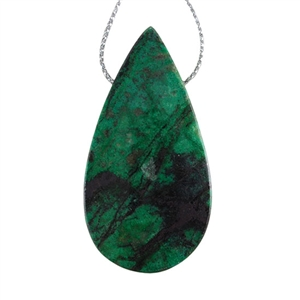 Natural Chrysocolla Gemstone - Pear Pendant 28mm x 53mm - Pak of 1