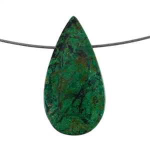 Natural Chrysocolla Gemstone - Pear Pendant 27mm x 53mm - Pak of 1