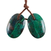 Parrot Wing Chrysocolla Gemstone - Freeform Pendant Pair 11mm x 17mm - Matched Pair