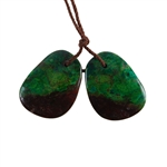 Parrot Wing Chrysocolla Gemstone - Freeform Pendant Pair 16mm x 21mm - Matched Pair