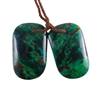 Parrot Wing Chrysocolla Gemstone - Freeform Pendant Pair 14mm x 22mm - Matched Pair