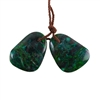 Parrot Wing Chrysocolla Gemstone - Freeform Pendant Pair 13mm x 19mm - Matched Pair