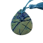 Natural Lightening Azurite Gemstone - Pear Pendant 35x42mm