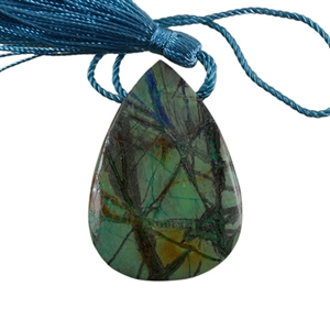 Natural Lightening Azurite Gemstone - Pear Pendant 35x50mm