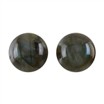 Natural Labradorite Gemstone - Round Cabochon 12mm Matched Pair