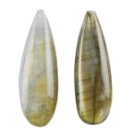 Labradorite Gemstone - Pear Half-drilled Pendants 9mm x 29mm - Matched Pair