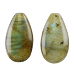 Labradorite Gemstone - Pear Half-drilled Pendants 9mm x 16mm - Matched Pair