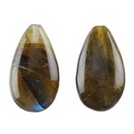 Natural Labradorite Gemstone - Cabochon Pear 21mm x 31mm - Pak of 1