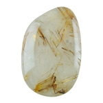 Golden Rutilated Quartz Gemstone - Freeform Cabochon 23mm x 35mm Pkg - 1