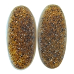 Druzy Quartz in Agate Gemstone - Oval Cabochon 9mm x 19mm Matched Pair