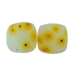 Druzy Quartz in Agate Gemstone - Square Cabochon 11mm Matched Pair