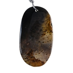 Petrified Palm Wood - Oval Pendant 30mm x 54mm - Pak of 1