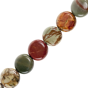"Red Creek Jasper Gemstone - Flat Round 10mm - 16"" Strand"