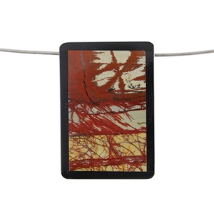 Inlay Black Onyx and Red Creek Jasper Gemstone - Rectangle 36x52mm Pendant - Pak of 1