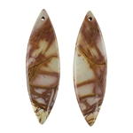 Red Creek Jasper Gemstone - Cabochon Matched Pair 13mm x 43mm