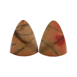 Red Creek Jasper Gemstone - Cabochon Bell 14x18mm - Matched Pair