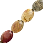 "Red Creek Jasper Gemstone - Flat Oval 13x18mm - 16"" Strand"