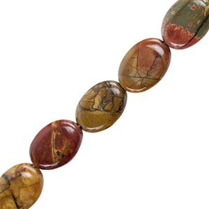 "Red Creek Jasper Gemstone - Flat Oval 10x14mm - 16"" Strand"