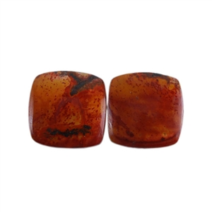 Red Creek Jasper Gemstone - Cabochon Square 11mm - Matched Pair