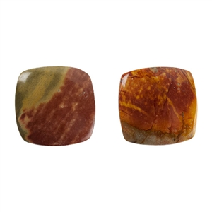 Red Creek Jasper Gemstone - Cabochon Rectangle 15x17mm - Pak of 1