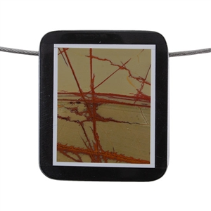 Inlay Black Onyx, Quartz and Red Creek Jasper Gemstone - Rectangle 35x40mm Pendant - Pak of 1