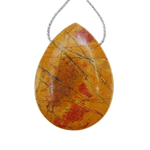 Red Creek Jasper Gemstone - Pear Pendant 30x41mm