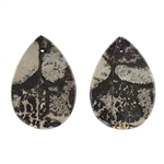 Crazy Horse Jasper Gemstone - Defective Stone - Pear Pendants 21x31mm - 1 Pair