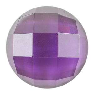 Glass - Amethyst - Cabochon Round 14mm - Checkerboard Top