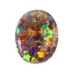 Imitation Red Opal Gemstone - Cabochon Oval 8x10mm - Pak of 1