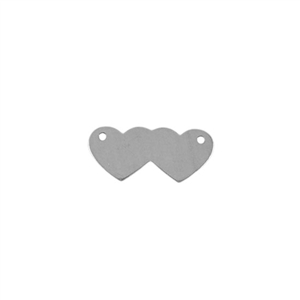 Sterling Silver Shape - Double Hearts with Holes - 8mm x 18mm Pkg - 4